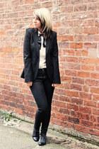 black Topshop jeans - black new look boots - black Zara blazer