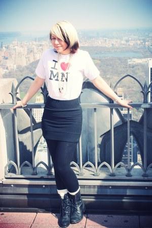black xavi boots - white minnesota shirt - black Topshop skirt