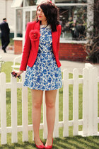 blue Topshop dress - ruby red asos hat - ruby red Zara blazer