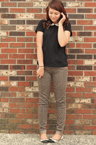 charcoal gray BeBop jeans - black H&M shirt - ivory new look flats
