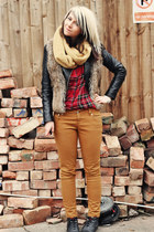 mustard select jeans - black new look boots - black H&M jacket