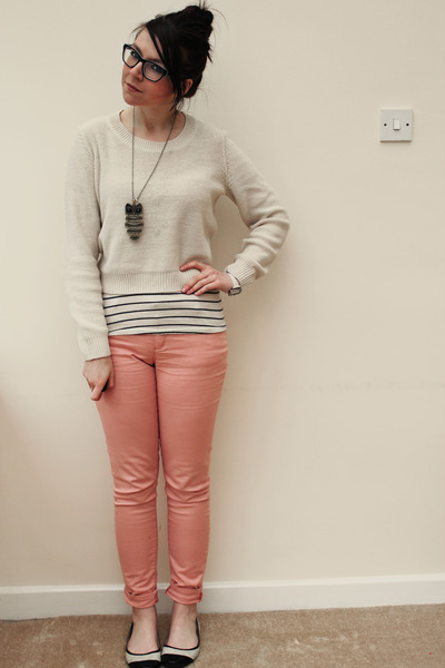 peach Republic pants - eggshell H&M sweater - off white Topshop shirt