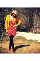 red H&M shoes - red modcloth dress - gold H&M cardigan