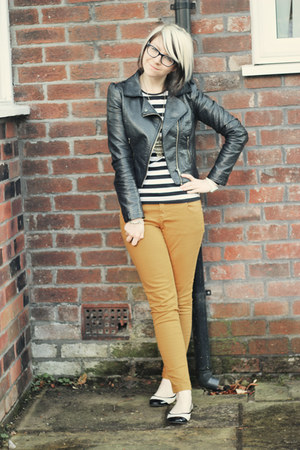 black H&M jacket - mustard select jeans - black Primark shirt