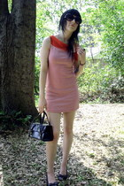 red striped dress - black vintage bag