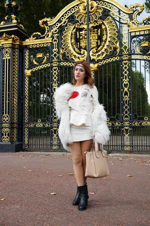 white faux fur Zara coat - red torn Ravi Famous sweater