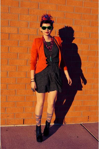 red blazer - black polka dotted dress