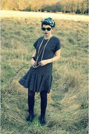 black polka dotted none dress