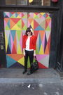 Red-h-m-jacket-white-hanes-t-shirt-black-guess-jeans-black-via-spiga-shoes