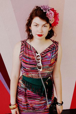 teal suede fringed Closet Case Vintage belt - striped bcbg max azria dress
