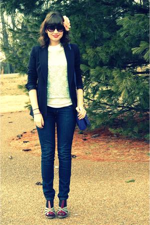 blue vintage top - blue Guess jeans - black New York & Company blazer - purple A