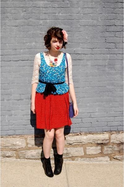 ivory Charlotte Russe shirt - blue Forever 21 shirt - red neiman marcus skirt