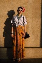 white polka dotted none blouse - orange Leifsdottir dress