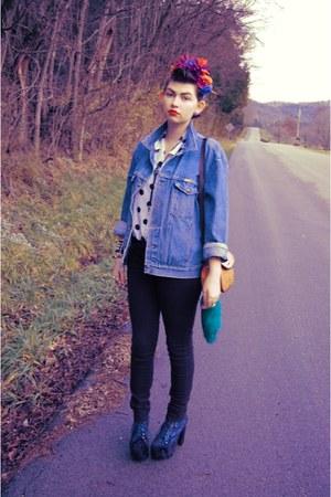 light blue denim Rustler jacket - black Guess jeans