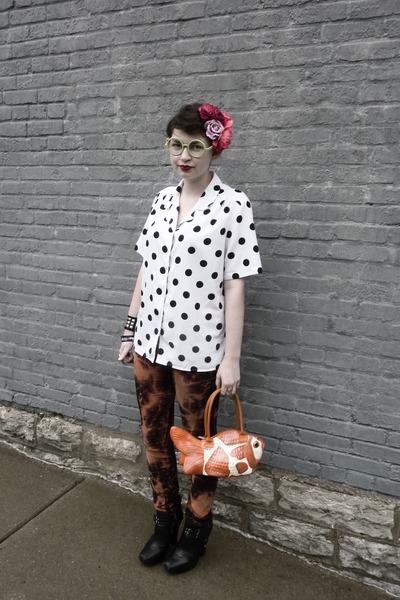 black sam edelman boots - burnt orange bleached DIYed pants - white polka dotted