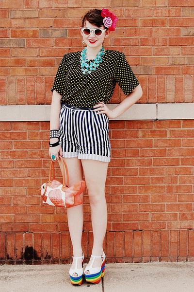 black polka dotted none vintage shirt - white none vintage shorts - light blue b