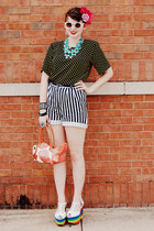 black polka dotted none vintage shirt - white none vintage shorts - light blue b