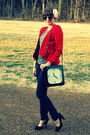 red vintage blazer - black Nine West shoes - blue Guess jeans