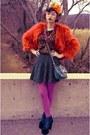 Black-polka-dot-dress-red-faux-fur-inc-international-concepts-coat