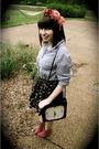 Gray-thakoon-for-target-skirt-blue-vintage-bill-blass-top-pink-mixx-shoes-