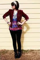 black zoe sam edelman boots - black bleached Target jeans - magenta vintage blaz