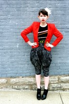 black zoe sam edelman boots - red goodwill vintage blazer - black vintage Custo