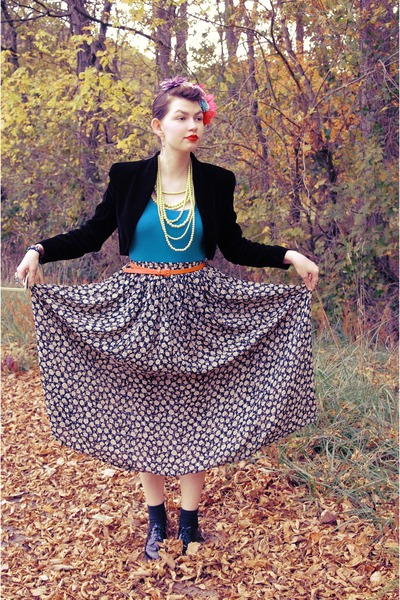 tan floral none skirt - black bolero none jacket - turquoise blue Target t-shirt