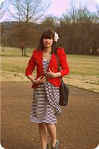 red vintage blazer - white Jean Paul Gaultier for Target dress - black vintage C