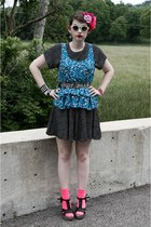 black polka dotted dress - hot pink neon Target socks - blue flowered Forever 21