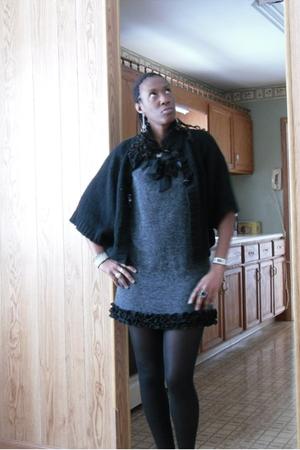 black cardigan - gray dress
