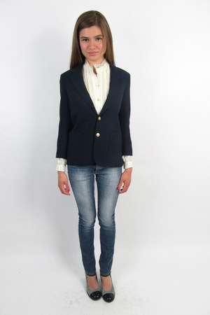 blue fitted nautical vintage 1980s blazer