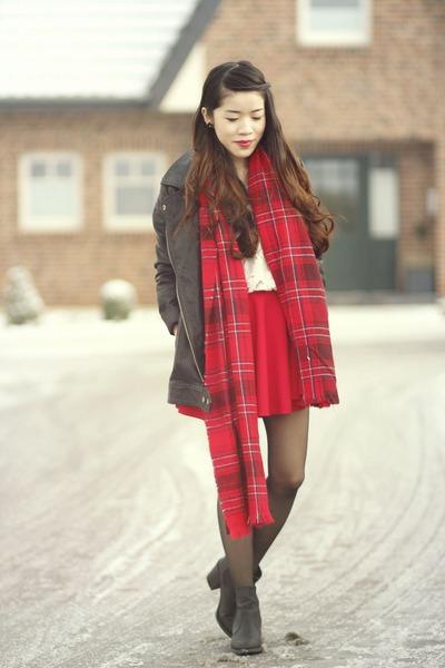 ivory OASAP shirt - black ribbon jacket - ruby red H&M scarf