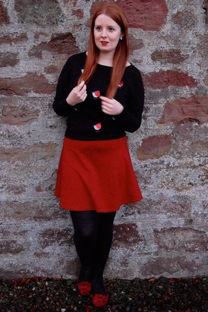 black Debenhams jumper - red new look skirt - red F&F pumps