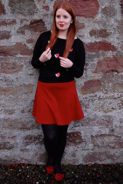 black Debenhams jumper - red new look skirt - red F&F pumps