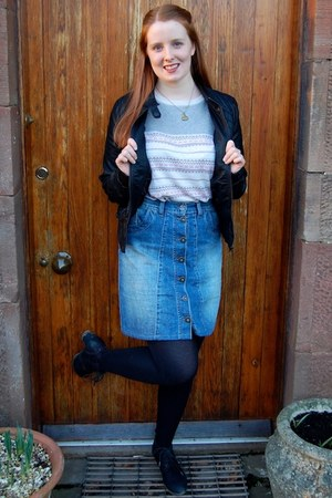 black ci sono jacket - black Marco Tozzi boots - blue next skirt