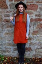 burnt orange Just for 5 dress - black Primark hat - black Marco Tozzi heels