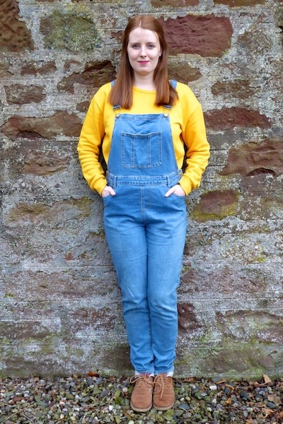 light brown Fat Face boots - yellow Primark sweatshirt - blue TU clothing romper