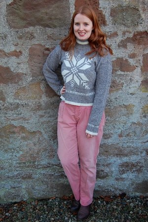 pink Fat Face pants - dark brown Office boots - gray Primark jumper
