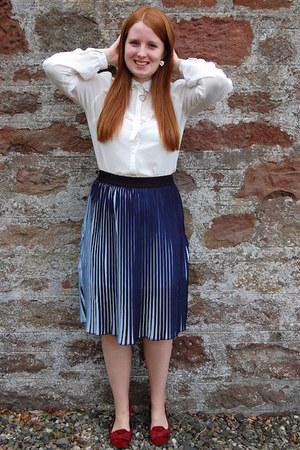 blue Blue Vanilla skirt - cream new look blouse - red F&F flats