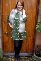 green Ebay dress - heather gray new look scarf - black Marco Tozzi heels