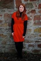 red M&S dress - black Primark top