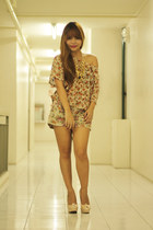 floral Garage Manila top - Redhead shorts - made by me necklace - Syrup heels