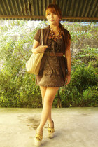 brown EGG belt - dark brown random dress - cream random bag
