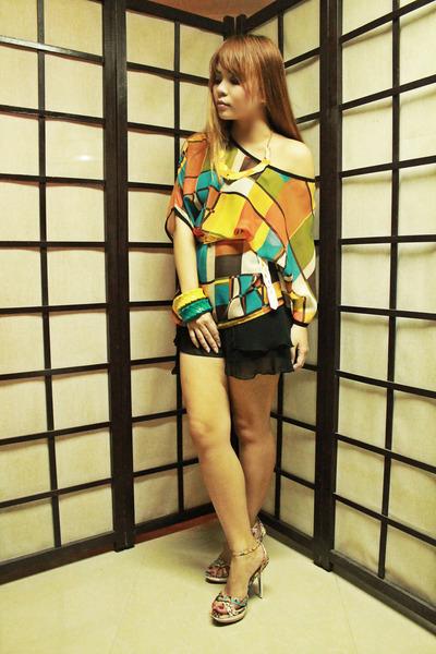 light orange chiffon random top - black chiffon House of Cortez shorts