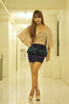 neutral cape Garage Manila top - deep purple peplum Fashion Infinity skirt