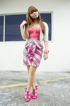 bubble gum designed by me skirt - hot pink YRYS heels