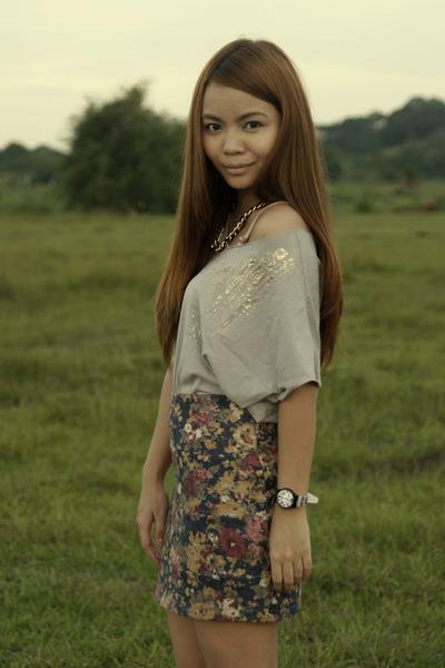 navy floral bandage Redhead skirt - silver gray cropped Kirin-Kirin blouse