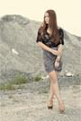 Tan-animal-print-random-bra-charcoal-gray-draped-own-skirt