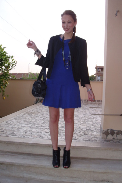 Black dress with blue jacket - Dress on sale