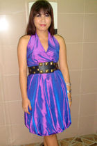 purple dress - black Cintura belt - black Gibi shoes